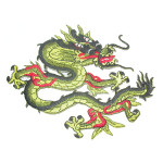 Iron On Patch Applique - Oriental Dragon Olive