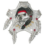 Iron On Patch Applique - Skull with Feather Silver