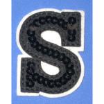Iron On Patch Applique - Black Sequin Letter S