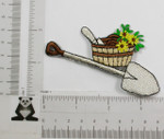 Iron On Patch Applique - Shovel and Basket with Flowers.
