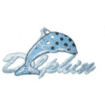 Iron On Patch Applique - Blue Dolphin