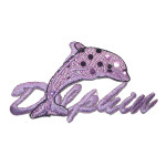 Iron On Patch Applique - Purple Dolphin