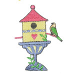 Iron On Patch Applique - Bird House Yellow