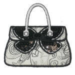Iron On Patch Applique - Black and White Handbag