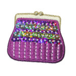 Iron On Patch Applique - Sequin Purse Cerise