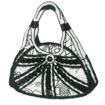Iron On Patch Applique - Black and White Sequin Handbag