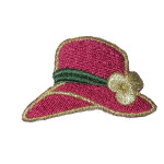 Iron On Patch Applique - Wine Hat with Gold Flower