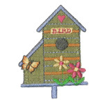 Iron On Patch Applique - Bird House Green