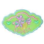 "Iron On Patch Applique - ""LOVELY"" Flower Patch Green"