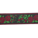 "Jacquard Ribbon 1 5/8"" Red Roses 50 Yards"