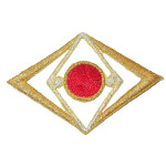 Iron On Patch Applique - Double Diamond and Dot Red