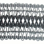 "Braid 2 3/4"" Black with Criss Cross Rat Tail Design"