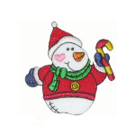 Iron On Patch Applique - Snowman in Santa Suit