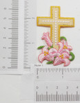 Iron On Patch Applique - Cross with Lillies