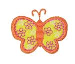 "Iron On Patch Applique - Butterfly 1 9/16"" Flower Wings ORANGE"