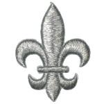 """Iron On Patch Applique - Fleur De Lys 2 1/2"""" SILVER"""