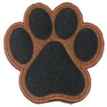 "Iron On Patch Applique Paw Print Large 6"" BROWN"