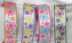 "Jacquard Ribbon 1"" Multi Flowers *Colors* 18 Yard Roll"