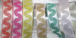 "Jacquard Ribbon 1"" 6 Row Wave *COLORS* 18 Yard Roll"