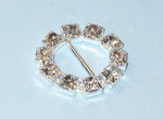 "Mini Metal Circle Slide Buckle with Rhinestones 3/4"" across"