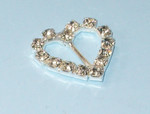 "Mini Metal Heart Slide Buckle with Rhinestones 3/4"" across"