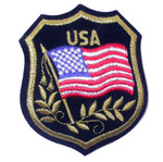 Iron On Patch Applique - USA Flag Crest