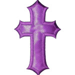 Iron On Patch Applique - Cross Large Satin PURPLE