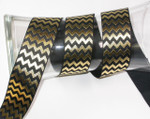 "Foil Chevron Grosgrain Ribbon 1 1/2"" Black & Gold"