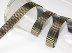 "Foil Chevron Grosgrain Ribbon 7/8"" Black & Gold"