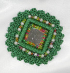 Sew On Mirror Crochet Beaded Applique Green 2""