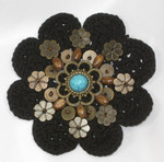 Sew On Crochet Applique Beaded Black 3 1/8""