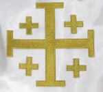 "Iron On Patch Applique - Jerusalem 5 Part Cross 5""  Metallic Gold"