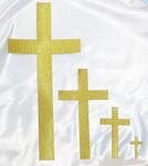"Iron On Patch Applique - Plain Cross 2"" Tall Metallic Gold"