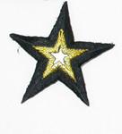 "Iron On Patch Applique - Mirror Star 1 7/8"" Black & Met Gold"