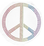 Rhinestud Applique - Multicolor Peace Symbol