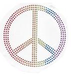 Rhinestud Applique - Multicolor Peace Symbol