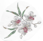 Rhinestud Applique -  White Flower Spray