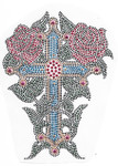 Rhinestud Applique - Cross with Roses