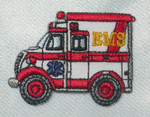 "Iron On Patch Applique - EMS Paramedic Ambulance 1 3/8"" High"