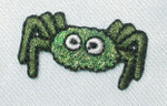 "Iron On Patch Applique - Spider Sparkly Green 1 1/8"" across"