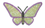 """Iron On Patch Applique - Butterfly 2 1/2"""" Purple & Green Sparkle Wings"""