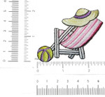 Iron On Patch Applique - Beach Chair Hat & Ball