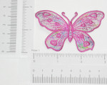 Iron On Patch Applique - Butterfly Hot Pink on Sheer with Foil