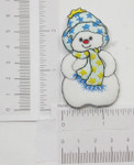Iron On Patch Applique - Snowman Blue Star Hat