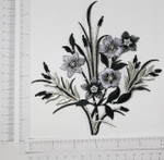 Iron On Patch Applique - Black & Silver Floral Spray