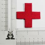 "Iron On Patch Applique - Jerusalem 2 1/4"" Corner Cross Red"