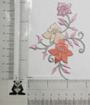 Iron On Patch Applique - Flower Spray Pink/Peach Left