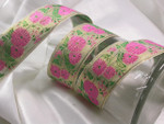 "Jacquard Ribbon 1 1/2"" Metallic Gold & Pink Floral"