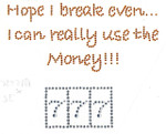 "Rhinestud Applique - ""Hope I can Break Even 777"""