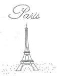 "Rhinestud Applique - ""Paris"" Eiffel Tower"